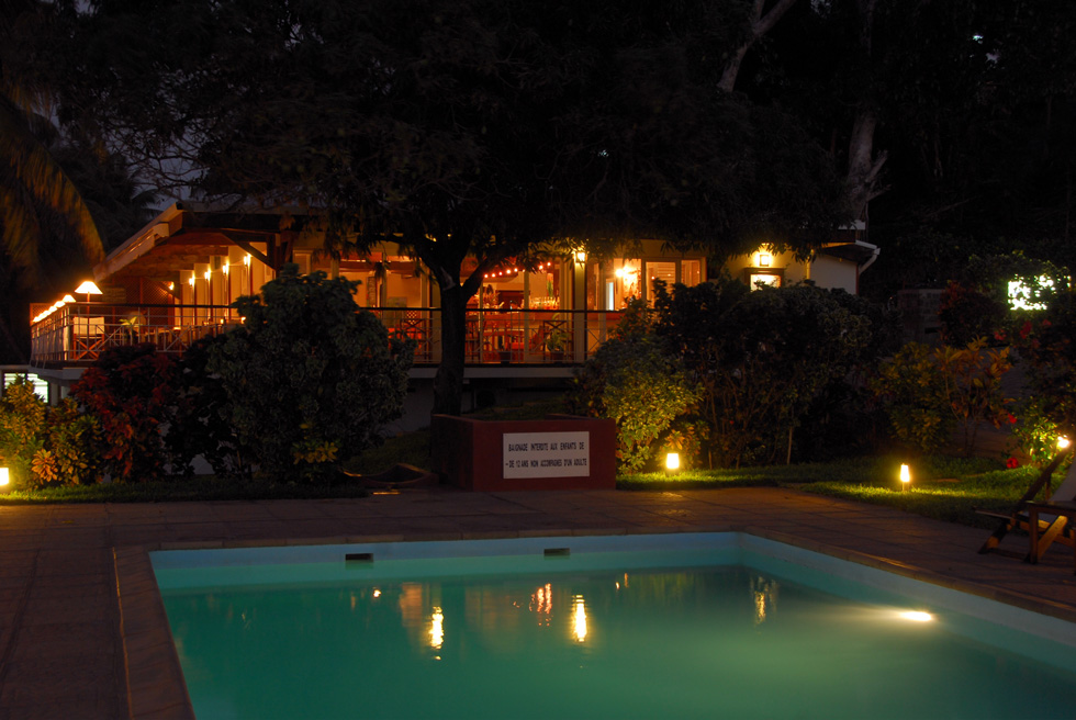 View of the restaurant at night